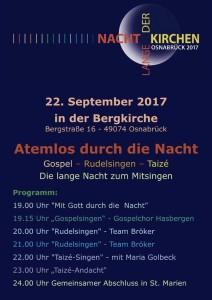 Programm zur 3. Langen Nacht der Kirchen in der Bergkirche